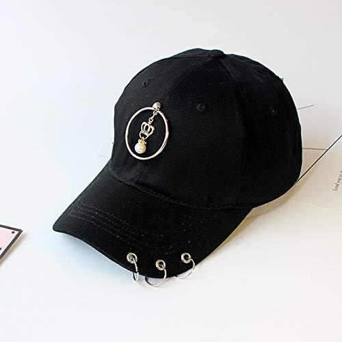 Weiblich Kostüm Russische - Hut weibliche Mode Metall fünfzackigen Stern baseballmütze Sonnenhut lässig Eisen Ring Band Kappe Krone Perle schwarz Erwachsene (55-59 cm)