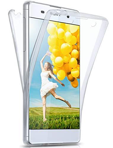 moex® Beidseitige Silikonhülle [Vorder + Rückseite] passend für Sony Xperia XA | 360 Grad Cover mit Komplett-Schutz - durchsichtig, Transparent