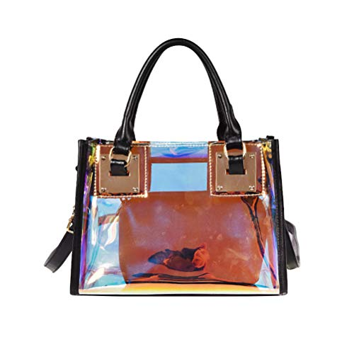 Fenical Umhängetasche Laser Glossy Small Square Handtasche Transparente Umhängetasche für Frauen (Schwarz) -