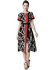 La Robe Imprimée à la Mode Était une Jupe A-Ligne à Manches Courtes à Tempérament Mince