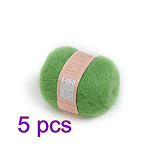 ANKKO 5pcs Soft Natural Angola Plush Mohair Cashmere Wool Knitting Skein Yarn - Green