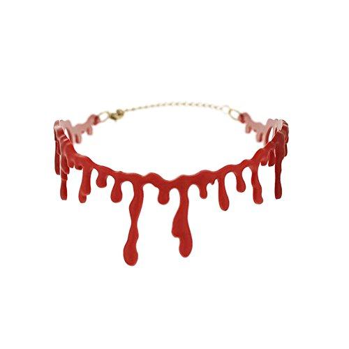 BENHAI 1 Pc Halloween Kostüm Horror Blut Tropfenfänger Halskette Fake Blut Vampir Fancy Halskette Choker Red Halsketten Party Zubehör Neuheit Resin Geschenk Party Halskette