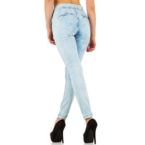 Damen Jeans Hose Used Look High Jeanshose Waist Röhrenhose Skinny Slim Fit Blau Blau Nr. 2