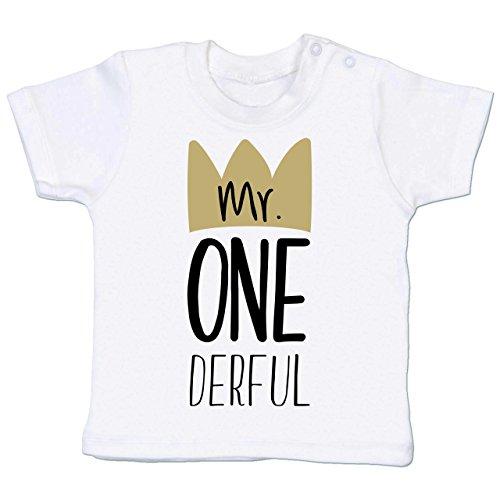 Geburtstag Baby - Mr One Derful - 6-12 Monate - Weiß - BZ02 - Babyshirt - 7. Geburtstags-shirt