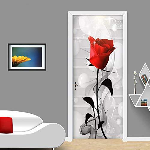 QMTZDQ TürPoster Türtapete Abstrakte Smog Red Rose Wandaufkleber Wohnzimmer Hochzeit Haus Aufkleber Tür Dekorieren Vinyl wasserdichte Tür Aufkleber, 90x200 cm