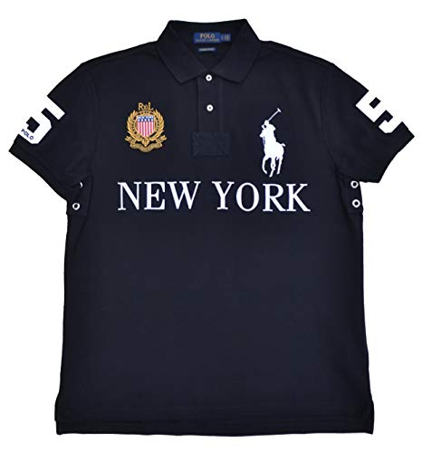 Big Pony Shirt (Ralph Lauren Rugby Poloshirt Polo New York Big Pony Custom Slim Fit Schwarz Größe M)