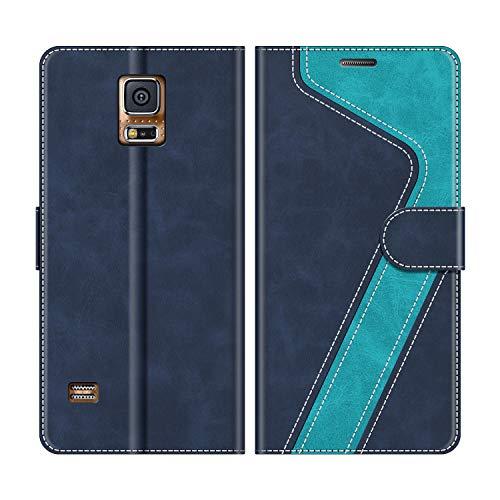 MOBESV Handyhülle für Samsung Galaxy S5, Samsung Galaxy S5 Neo Hülle Leder, Samsung Galaxy S5 Klapphülle Handytasche Case für Samsung Galaxy S5 / Galaxy S5 Neo Handy Hüllen, Modisch Blau