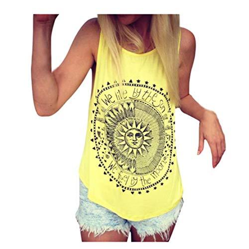 t Sexy Frauen Sonnen Bedruckte Bluse ärmellose Weste t-Shirt Bluse Casual Tank(EU-38/CN-L, Gelb) ()