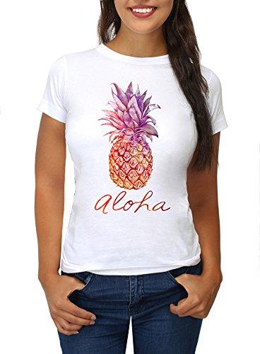 Strawberry Island Damen T-Shirt ALOHA Hawaii Ananas Printshirt weiß M (Hawaii-shirt Ananas)