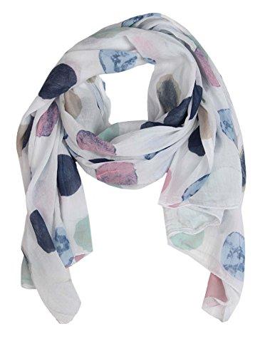 Cashmere Dreams Seiden-Tuch für Damen mit Punkt-Print von Zwillingsherz/Elegantes Accessoire für Frauen auch als Schal/Seiden-Schal/Halstuch/Schulter-Tuch oder Umschlagstuch einsetzbar (weiß)