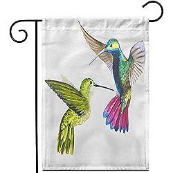 wallxxj Yard Banner Himmel-Vogel Colibri In Den Wild Lebenden Tieren Durch Aquarell-Wilde Freiheits-Rasen-Ausgangsdekor-Fahnen-Doppelseitige Yard-Flaggen-Patio-Garten-Flagge 32X48Cm