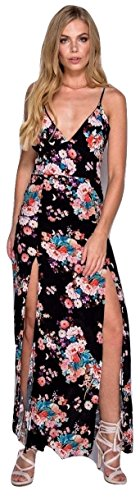 Damen Mini Flower Print Split Front Cami Maxi Kleid EUR 34-42 Schwarz