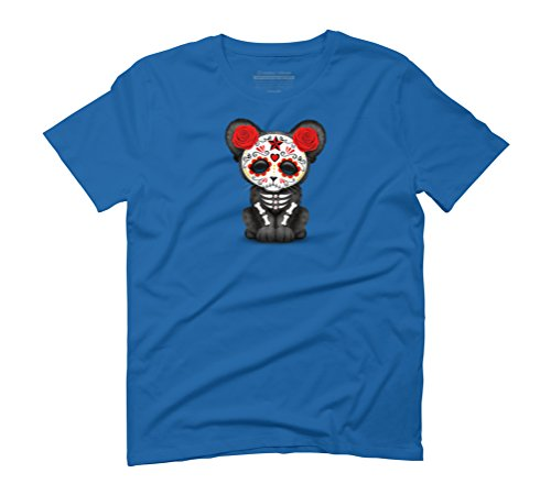 Red Day of the Dead Sugar Skull Panther Cub Men's Graphic T-Shirt - Design By Humans Royal Blue