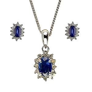 Ivy Gems 9ct White Gold Light Blue Sapphire and Diamond Earrings and Pendant Set Curb Chain of Length 46cm