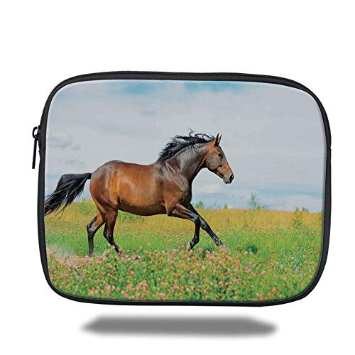Tablet Bag for Ipad air 2/3/4/mini 9.7 inch,Equestrian,Horse Runs Gallop on Flower Meadow Rural Freedom Animal Picture,Baby Blue Apple Green Brown,Bag