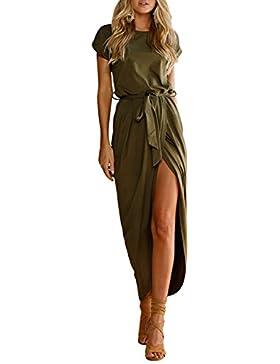ISASSY Damen Sommerkleider Kurzarm Abendkleid Elegant Kleid Lang Strandkleid Partykleid