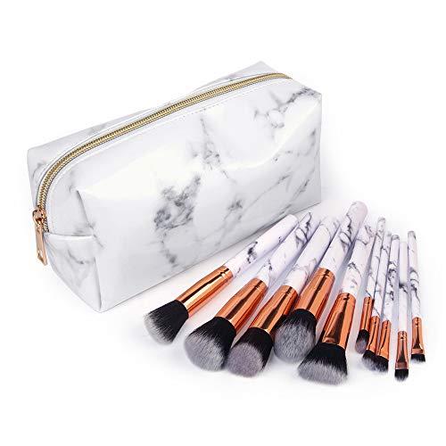 CLOOM klein Kosmetiktasche Mit Make-up Pinsel Set Handtasche Marmor Drucken Mäppchen Make-up Beutel...