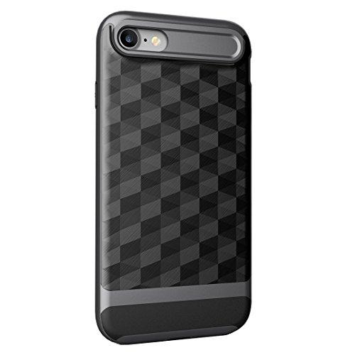 "iPhone 7 / iPhone 8 Hülle, HICASER Dual Layer Case Shock Proof Prism Textur TPU +PC Bumper Handytasche Schutzhülle für iPhone 7 / iPhone 8 4.7"" Schwarz Schwarz / Grau"