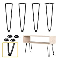 4 x Heavy Duty Hairpin Table Legs,Bigzzia Set of 4 Metal Table Legs Perfect for Coffee Table, Dining Table, Designer Desk, Nightstand, Mid Century Modern Style DIY Furniture 16 Inch