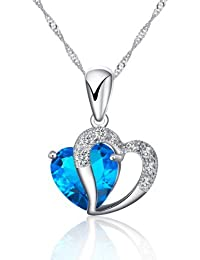 Rhodium Plated 925 Sterling Silver Diamond Accent Blue Sapphire Heart Shape Pendant Necklace Including 925 Sterling Silver Singapore Chain '18 inch
