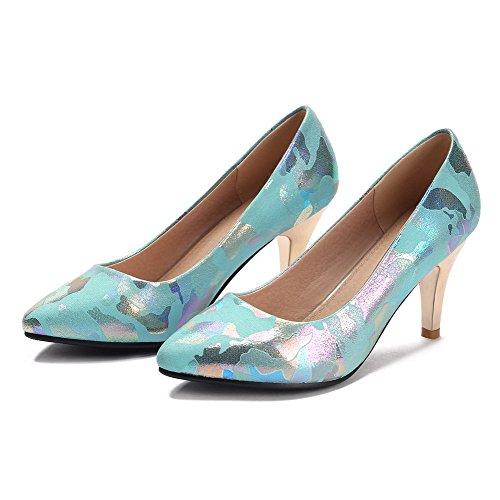 VogueZone009 Femme Matière Souple Pointu à Talon Haut Tire Couleurs Mélangées Chaussures Légeres Bleu