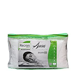 Recron Certified Quilted Micro Peach Aura Pillow - White