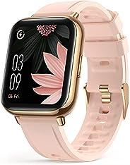 ساعة ذكية بشاشة 1.69 انش (43 ملم) لهواتف Android وiOS، مقاومة للماء بدرجة IP68 لتتبع معدل اللياقة البدنية ومرا