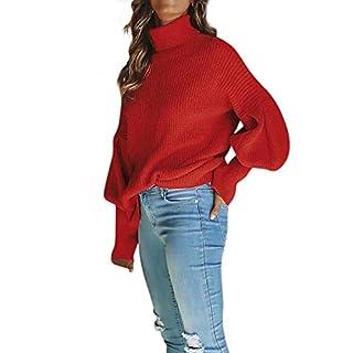 Innerternet Damen Pulli Langarm T-Shirt Rundhals Ausschnitt Lose Bluse Hemd Pullover Oversize Sweatshirt Oberteil Tops Herbst Winter Warm Rollkragen Strickpullover Elegant