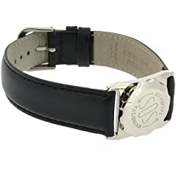 SOS Talisman Watch Style XL Stainless Steel Black Nappa Polished Leather Strap - 18mm Wide