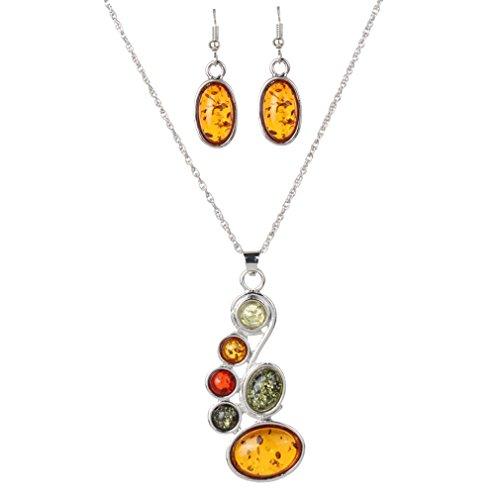 YAZILIND Frauen orange künstliche Bernstein-Ohrring-Anhänger-Halskette Kleid Schmuck-Set