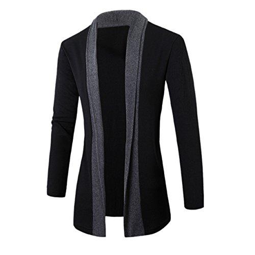 Yuan Herren Klassischer Schalkragen Strickjacke Open Jacke Lang Cardigan Mantel (M, Dunkelgrau) (Lange Klassisch Strickjacke)