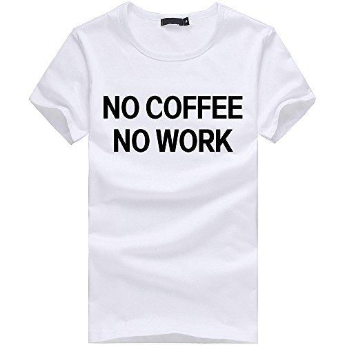 "Longra Donna ""no coffee no work"" T-shirt alfabeto di moda Bianca"
