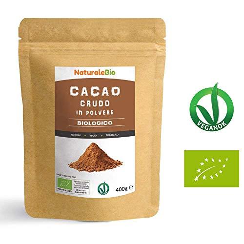 Cacao Crudo Biologico in Polvere da 400g | 100% Bio, Naturale e Puro | Prodotto in Perù dalla Pianta Theobroma Cacao | Superfood Ricco di Antiossidanti, Minerali e Vitamine | NATURALEBIO