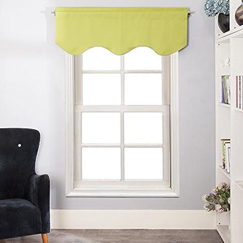 Aquazolax Kitchen Short Curtain Window Scalloped Valance with Rod Pocket