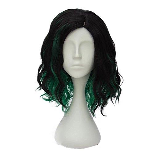 Estyle Fashion 14 inches(35CM) Kurz Lockig Lolita Party Dame Cosplay Hair Full Wig Perücke (Schwarz + Grün)