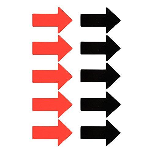 10 Magnetische Pfeile - 5 roten und 5 schwarzen - 4 x 6 cm. Symbol magnet Pfeil magnete für Magnettafeln, Kühlschränke, Plantafeln und Whiteboards.