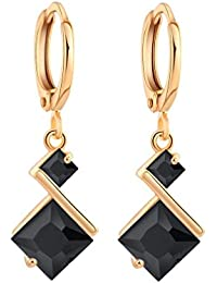 YAZILIND 18K Gold Plated Cubic Zirconia Inlay Charming Hoop Dangle Earrings for Women Gift