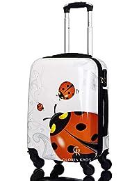 G.Kaos - Trolley da cabina 50 cm - Valigia 4 Ruote Rigido in ABS Policarbonato - Compatibile per voli come Rayanair & Easyjet - Fantasia Coccinella (Ladybug 50cm)