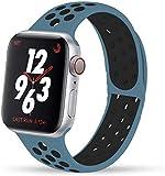 VIKATech Compatible Cinturino per Apple Watch Cinturino 44mm 42mm, Due Colori Morbido Silicone Traspirante Cinturini Sportiva di Ricambio per iWatch Series 5/4/3/2/1, S/M, Celestial Teal/Nero