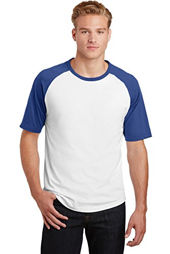 Sport-Tek T201 Short Sleeve Colorblock Raglan Jersey Gr. XXXX-Large, White/Royal (Colorblock Raglan-jersey-shirt)