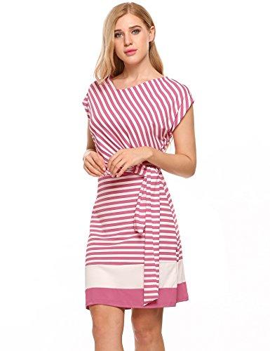 Meaneor Damen Gestreiftes Kleid Sommerkleider Striped Stretch Jersey Kurz Ärmel Etuikleid in Figurbetonter Passform (M, Rosa&Weiß) (Kleid Rosa Gestreifte)