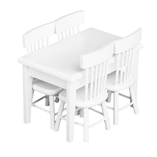 5pcs Miniature Dining Table Chair Wooden Furniture Set for 1:12 Dollhouse---White