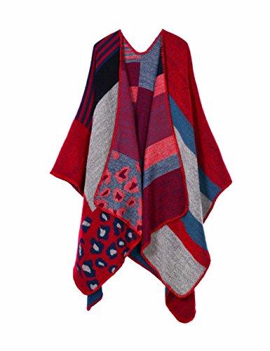 EMMA Damen Winter Plus Size Poncho Cape Decke Cardigans Winter Offen Vorne Kashmir Schal Frauen Strickjacke Modisch Kariert Wrap Umschlagtuch Pullover Fledermaus Cape Mantel(MC-9) (Schal Cardigan Wrap)