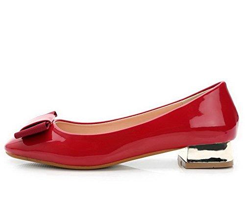 AalarDom Damen Lackleder Quadratisch Zehe Niedriger Absatz Pumps Schuhe mit Schleife Rot