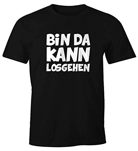 MoonWorks Herren T-Shirt mit Spruch Bin da Kann losgehen Fun-Shirt Schwarz XL -