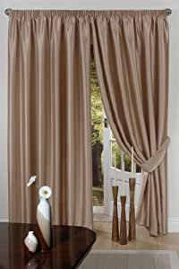 """Latte Curtains 45"""" x 72"""" Pair of Faux Silk Fully Lined Pencil Pleat Ready Made width 45 """" x 72"""" drop"""