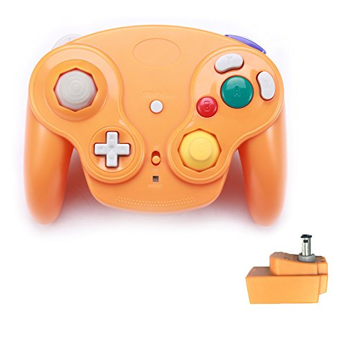 Poulep 1 Pack Classic 2.4 G Wireless Controller Upgrade Gamepad mit Receiver Adapter für Nintendo Wii U Gamecube NGC GC Orange - Classic Wii Controller Adapter