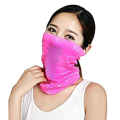 TRELC Windproof Cycling Face Mask Breathable Skull Mask Stretchable Neck Warmer Scarf Ski Headwear Tubular Half Face Cover Magic Headband Veil for Motor Cycling Riding Climbing Snowboard Winter Sports Outdoor Activities (Rosy)