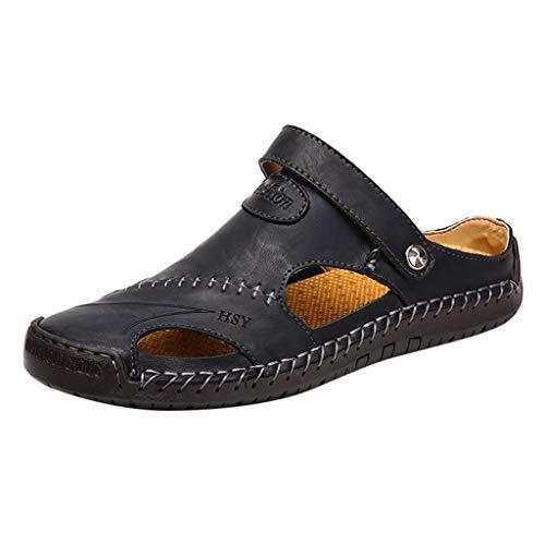 Casual Leder Sandalen atmungsaktiv Gezeiten Outdoor Strandschuhe rutschfeste Größe Freizeit Herrenschuhe(Schwarz,47) ()