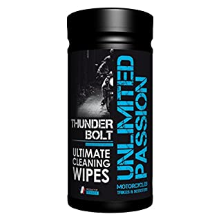 Unlimited Passion Thunderbolt Motorcycle/Car Cleaning Wipe, 30+uses inc degreaser, bug and tar remover, leather cleaner, Vulcanet alternative. Motorbike wipe, car wipe